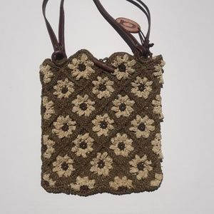 August Woven handbag with Flowers Leather and Wood